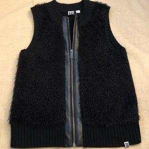 Roxy Black Knit Faux Leather Front Zip Vest